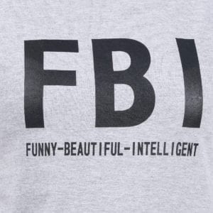 Typography Round neck FBI Grey Melange Women TShirt Print