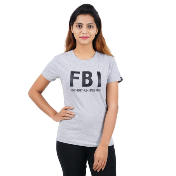 Typography Round neck FBI Grey Melange Womens T Shirt