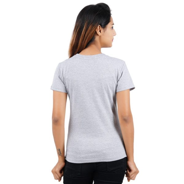 Typography Round neck Foodie Grey Melange Womens T Shirt Back