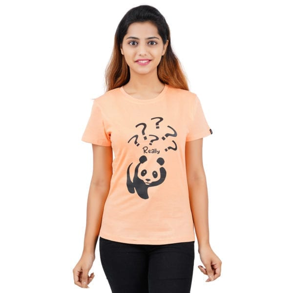 Typography Round neck Really Panda Peach Womens T Shirt