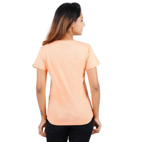 Typography Round neck Really Panda Peach Womens T Shirt Back