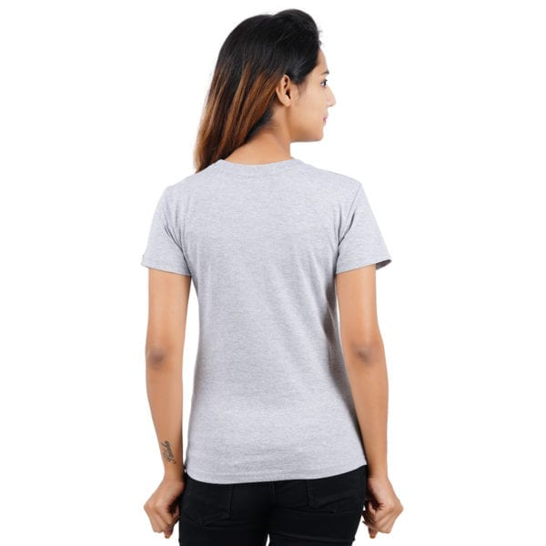Typography Round neck CIA Grey Melange Womens T Shirt Back