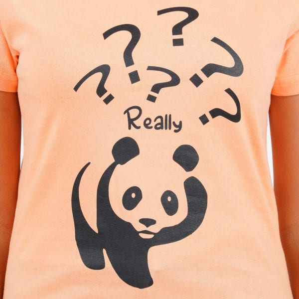 Typography Round neck Really Panda Peach Womens T Shirt Print