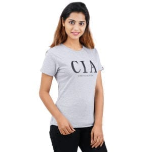 Typography Round neck CIA Grey Melange Womens T Shirt