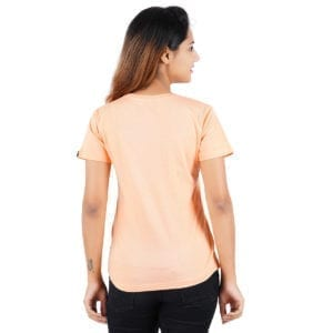 Printed Round or Crew neck Peaking Panda Peach Womens T Shirt Back