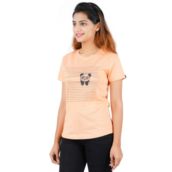 Printed Round or Crew neck Peaking Panda Peach Womens T Shirt