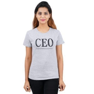 Typography Round neck CEO Grey Melange Womens T Shirt