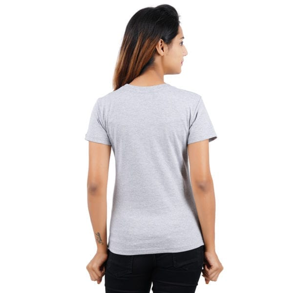 Typography Round neck CEO Grey Melange Womens T Shirt Back