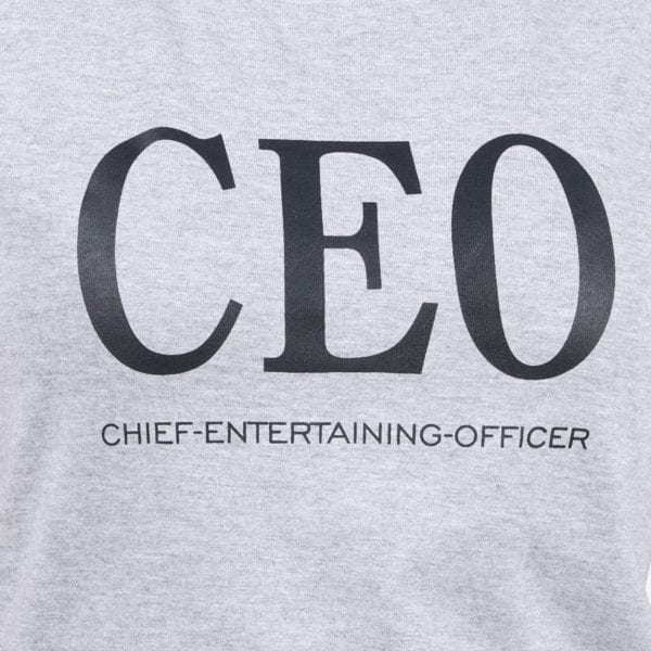 Typography Round neck CEO Grey Melange Womens T Shirt Print