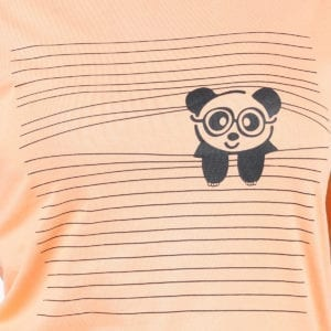 Printed Round or Crew neck Peaking Panda Peach Womens T Shirt Print
