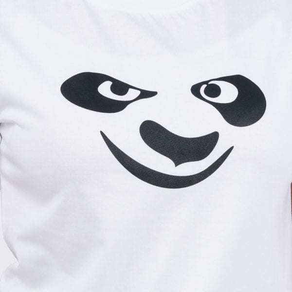 Printed Round or Crew neck Panda White Womens T Shirt Print