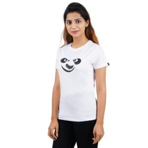 Printed Round or Crew neck Panda White Womens T Shirt