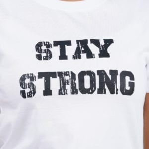 Graphic Printed Round neck Stay Strong White Womens T Shirt Print