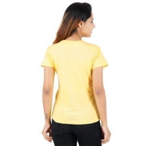 Printed Round or Crew neck Gymmer Yellow Womens T Shirt Back