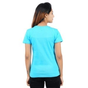 Printed Round or Crew neck WFH Blue Womens T Shirt Back