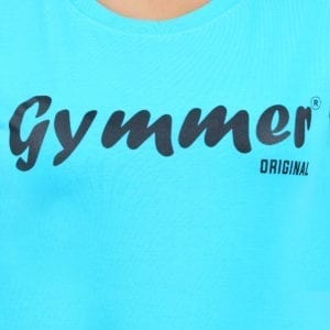 Typography Round neck Gymmer Blue Womens T Shirt Print