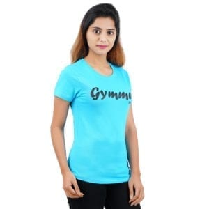 Typography Round neck Gymmer Blue Womens T Shirt