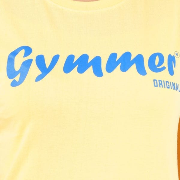 Printed Round or Crew neck Gymmer Yellow Womens T Shirt Print