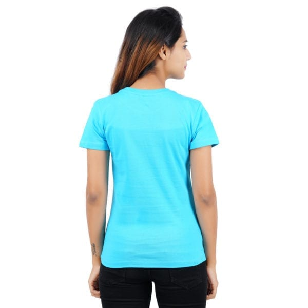 Printed Round Crew neck Amazing Blue Womens T Shirt Back