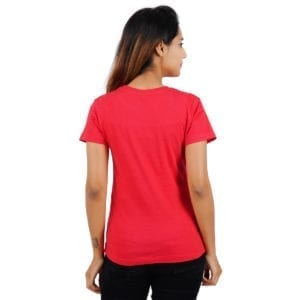 Typography Round neck Chill Red Womens T Shirt Back