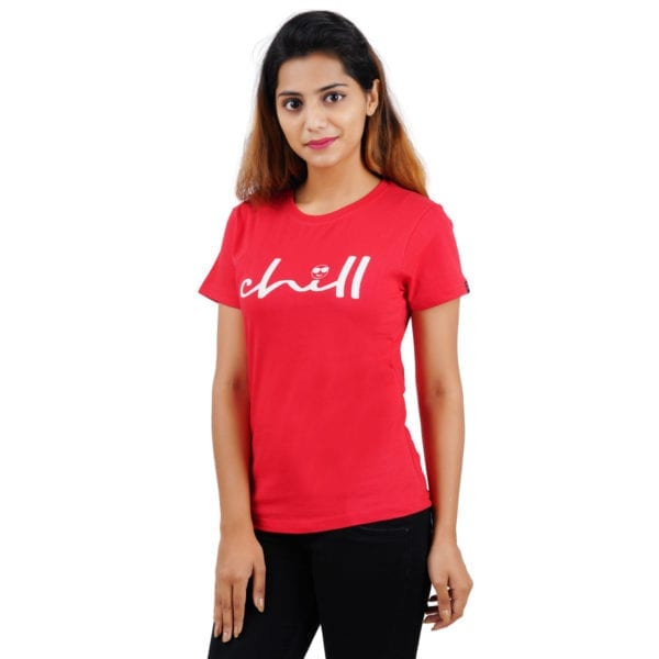 Typography Round neck Chill Red Womens T Shirt