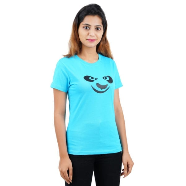 Graphic Printed Round neck Panda Blue Womens T Shirt