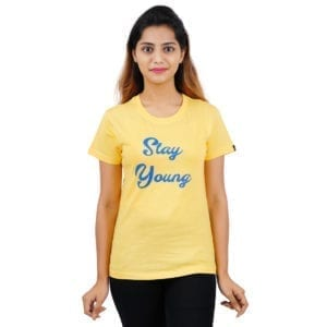 Graphic Printed Round neck Panda Stay Young Yellow Womens T Shirt