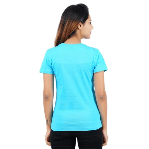 Graphic Printed Round neck Chill Blue Womens T Shirt Back