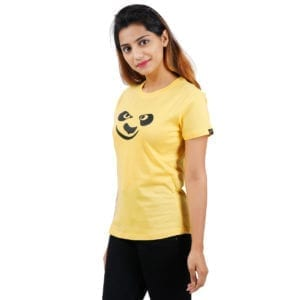 Typography Round neck Panda Yellow Womens T Shirt
