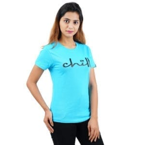 Graphic Printed Round neck Chill Blue Womens T Shirt