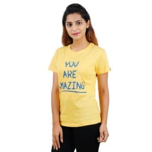 Typography Round neck Amazing Yellow Womens T Shirt