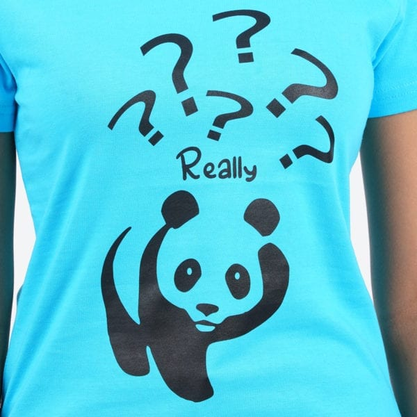 Animal Printed Round or Crew neck Really Panda Blue T Shirt Print