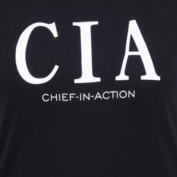 Printed Round or Crew neck CIA Black Womens T Shirt Print