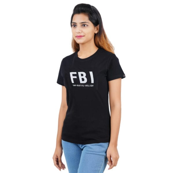 Printed Round or Crew neck FBI Black Womens T Shirt