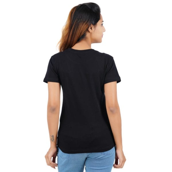 Printed Round or Crew neck CEO Black Womens T Shirt Back