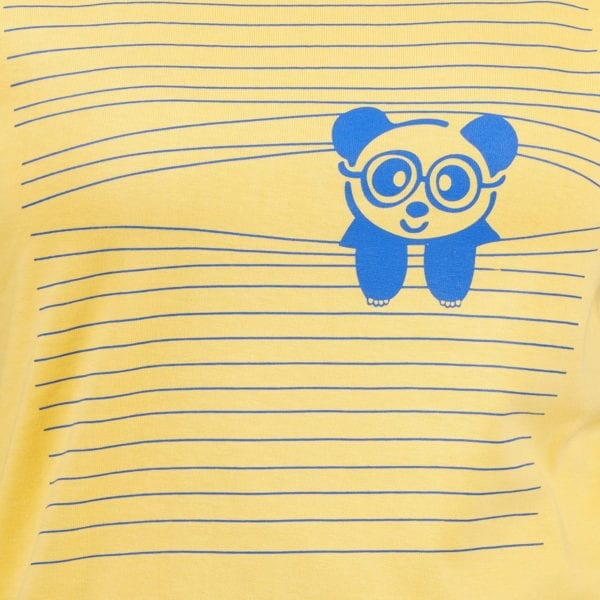 Graphic Printed Round neck Peaking Panda Yellow Womens T Shirt Print