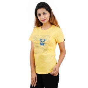 Graphic Printed Round neck Peaking Panda Yellow Womens T Shirt