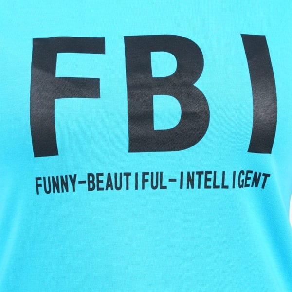 Graphic Printed Round neck FBI Blue Womens T Shirt Print