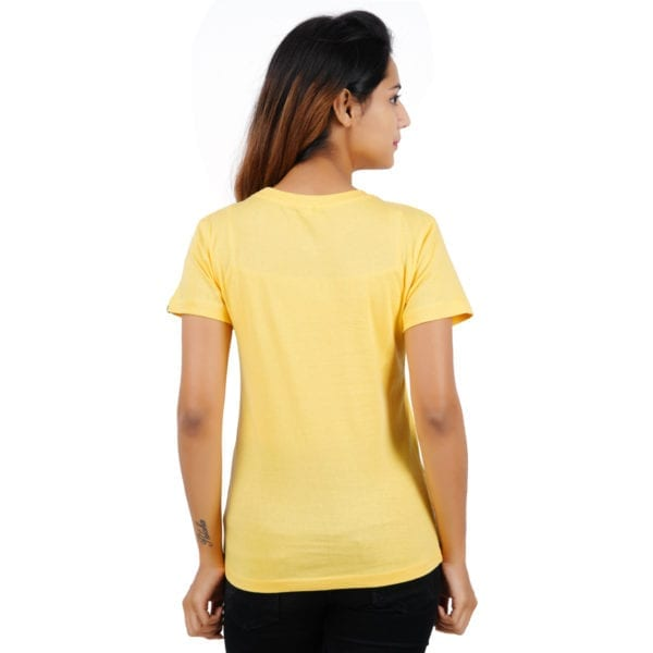 Graphic Printed Round neck Peaking Panda Yellow Womens T Shirt Back
