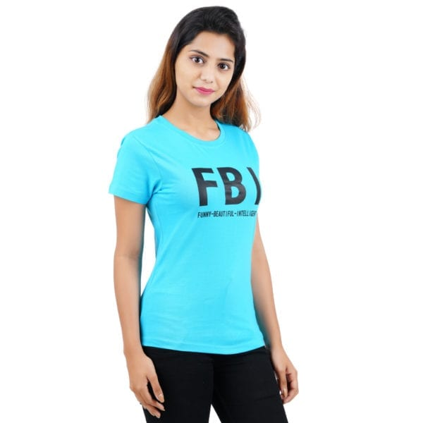 Graphic Printed Round neck FBI Blue Womens T Shirt