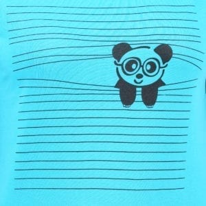 Animal Printed Round neck Peaking Panda Blue Womens T Shirt Print