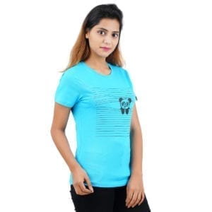 Animal Printed Round neck Peaking Panda Blue Womens T Shirt