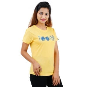 Printed Round neck Foodie Yellow Womens T Shirt