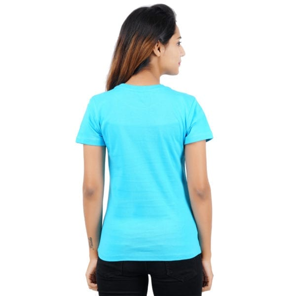 Animal Printed Round neck Peaking Panda Blue Womens T Shirt Back