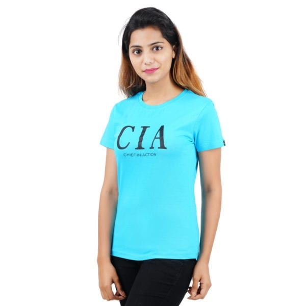 Graphic Printed Round neck CIA Blue Womens T Shirt